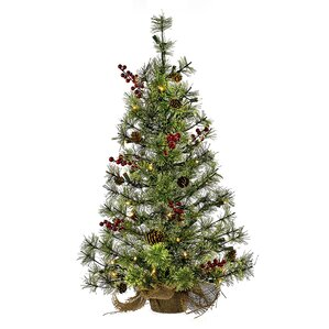 pre lit mini pine cone and holly 24 green artificial christmas tree with 50 - Mini Artificial Christmas Trees