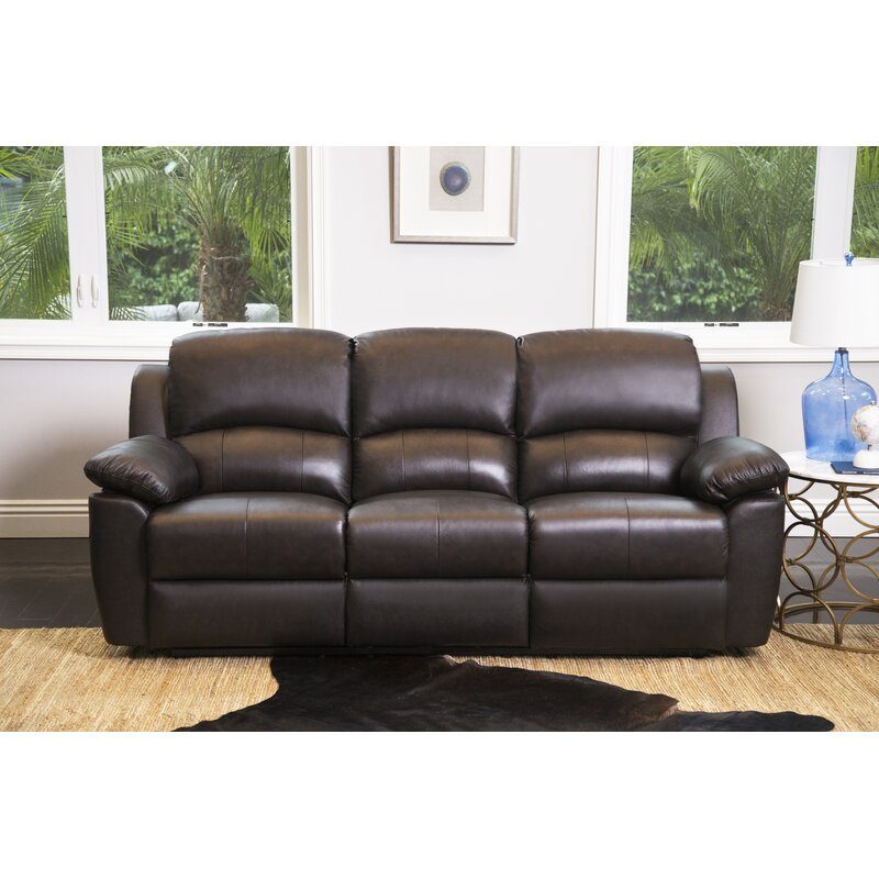 Darby Home Co Blackmoor Genuine Leather Reclining Sofa Reviews