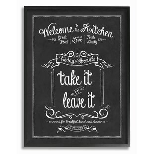 Welcome To The Kitchen Chalkboardu0027 Textual Art