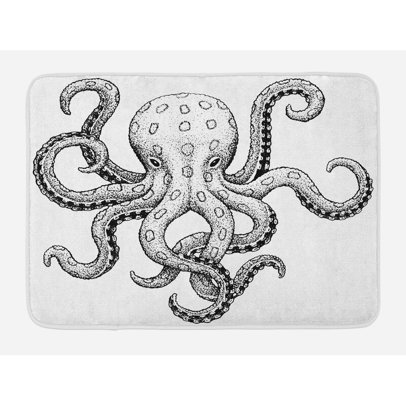 Sketch Octopus Bath Rug