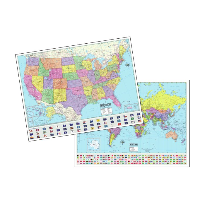 Universal Map Advanced USWorld Political Laminated Rolled Map