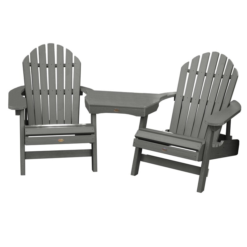 Camacho Plastic Folding Adirondack Chair With Table