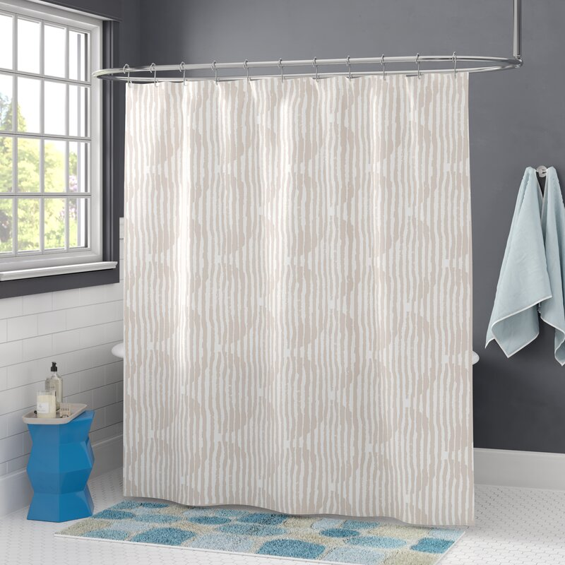 Ivy Bronx Joliet Circles Block Print Single Shower Curtain