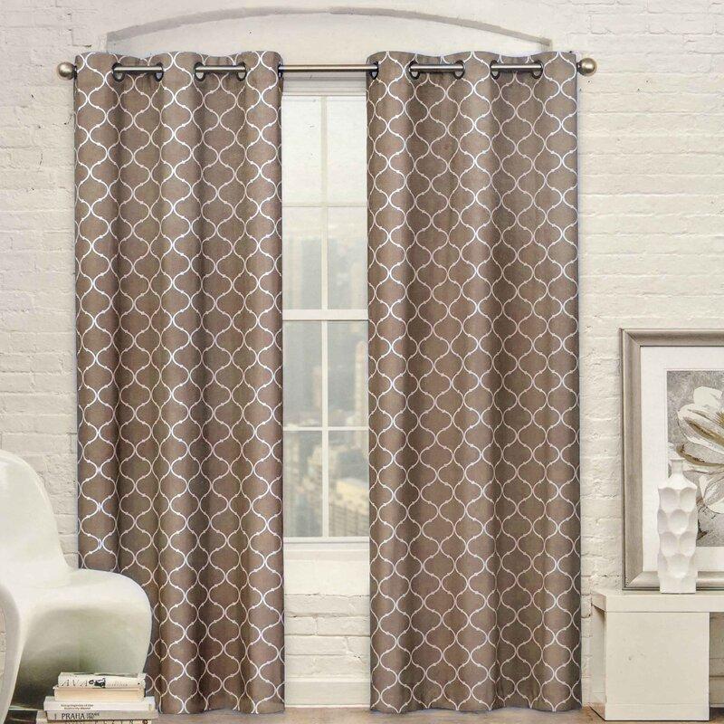 pamela trellis grommet curtain panel pair & reviews   joss & main