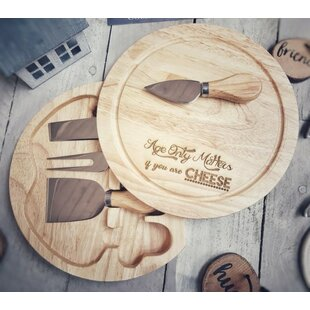 Zilla 5 Piece Engraved Cheese Board and Platter Set by Brambly Cottage