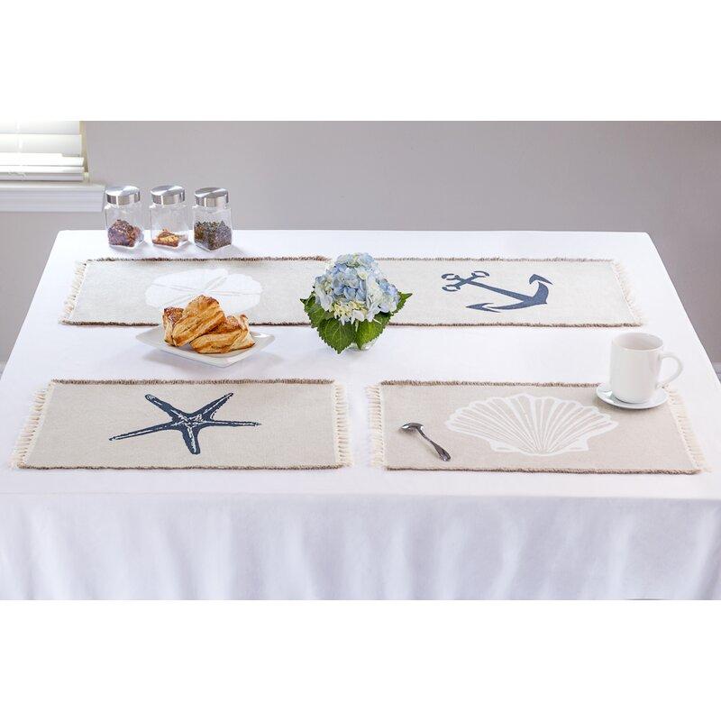 Beau Ruthie Beach Themed Nautical Kitchen 4 Piece Cotton Placemat Set