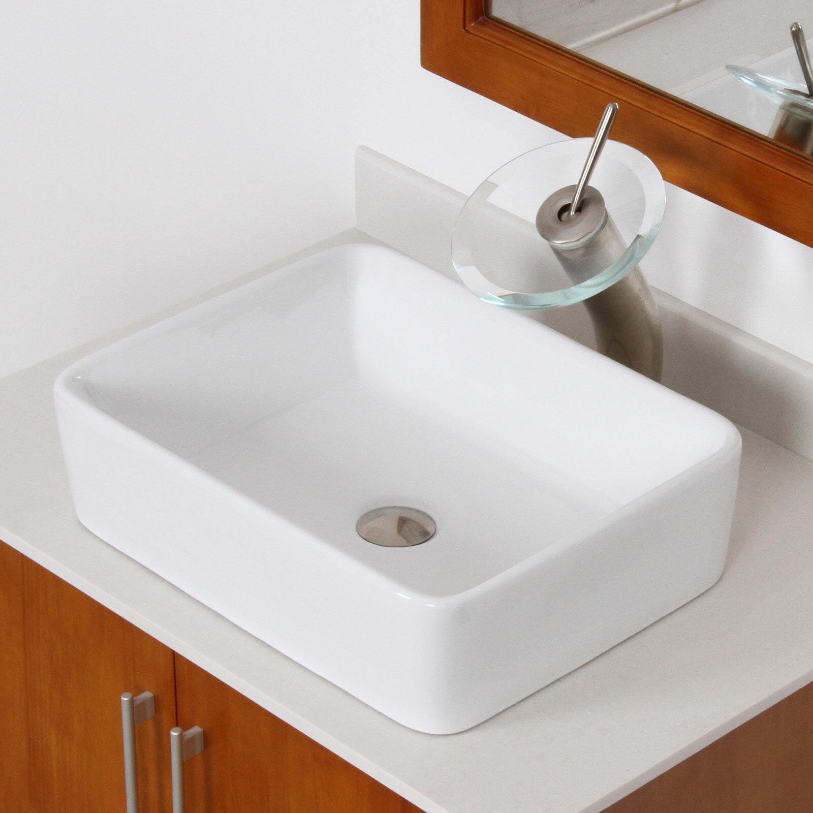 Elite Ceramic Rectangular Vessel Bathroom Sink & Reviews