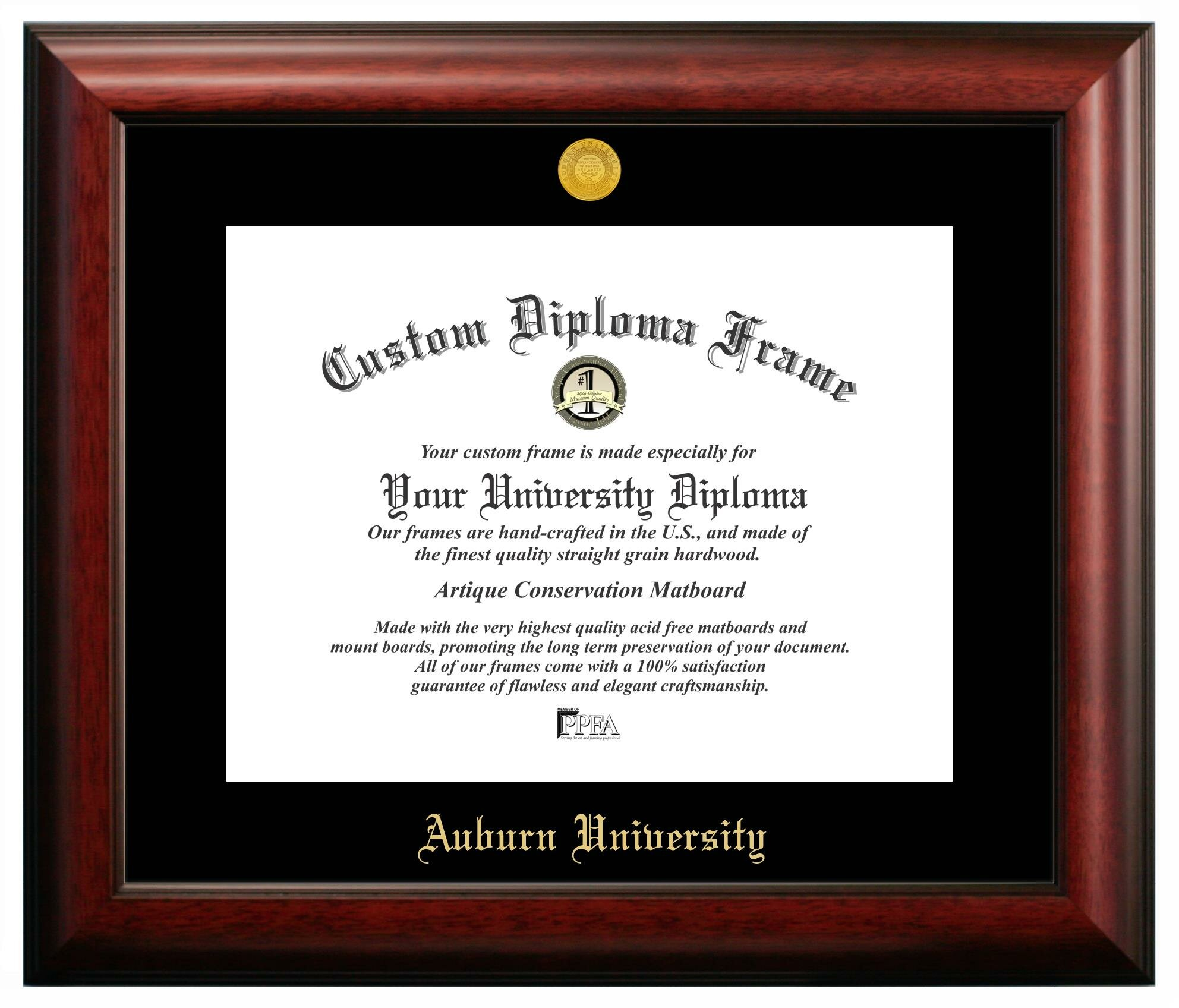 Campus Images NCAA Auburn University Gold Embossed Diploma Picture ...
