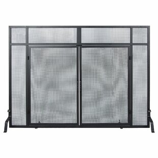 Windowpane Single Panel Iron Fireplace Screens