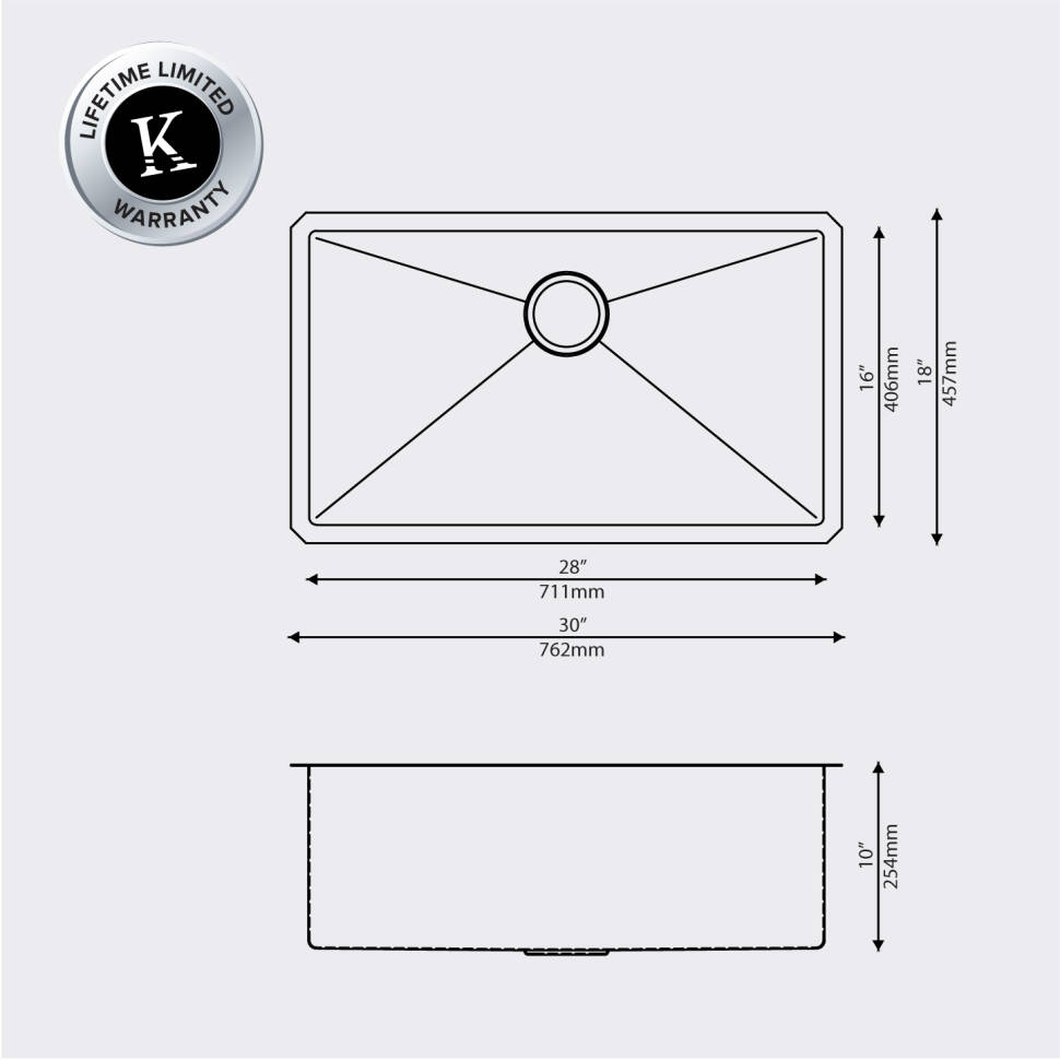 Kraus 30 X 18 Undermount Kitchen Sink With Grid And Drain Double Plumbing Diagram Search Results Khu100 Stainless Steel Key Features