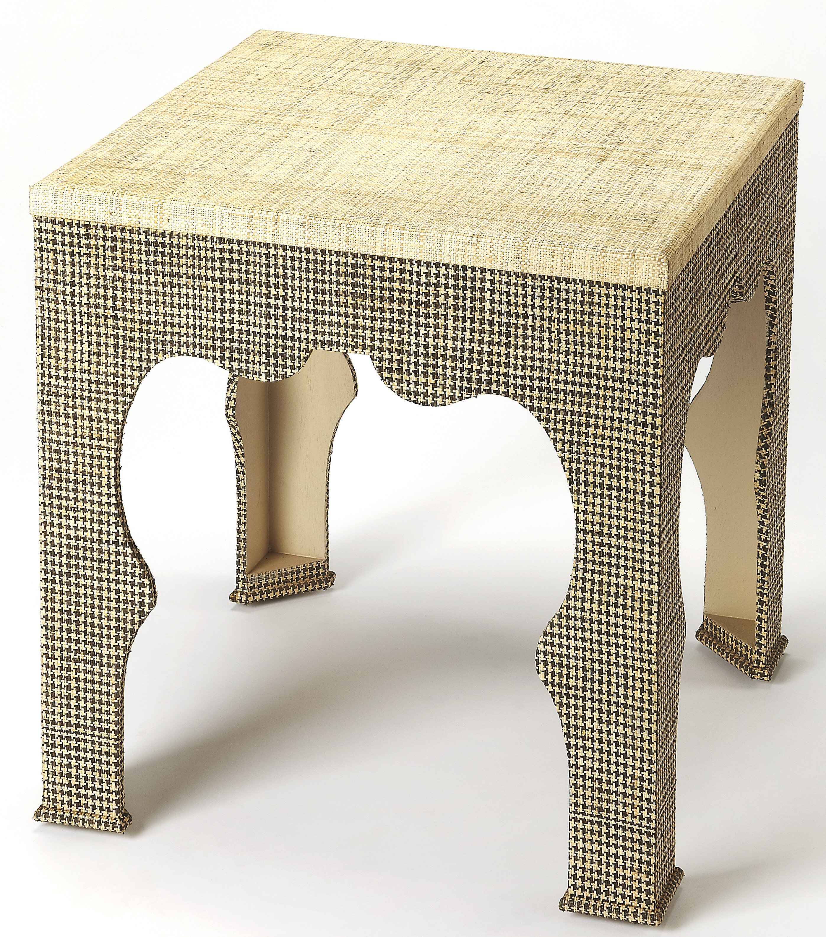 Elinore Houndstooth Raffia End Table