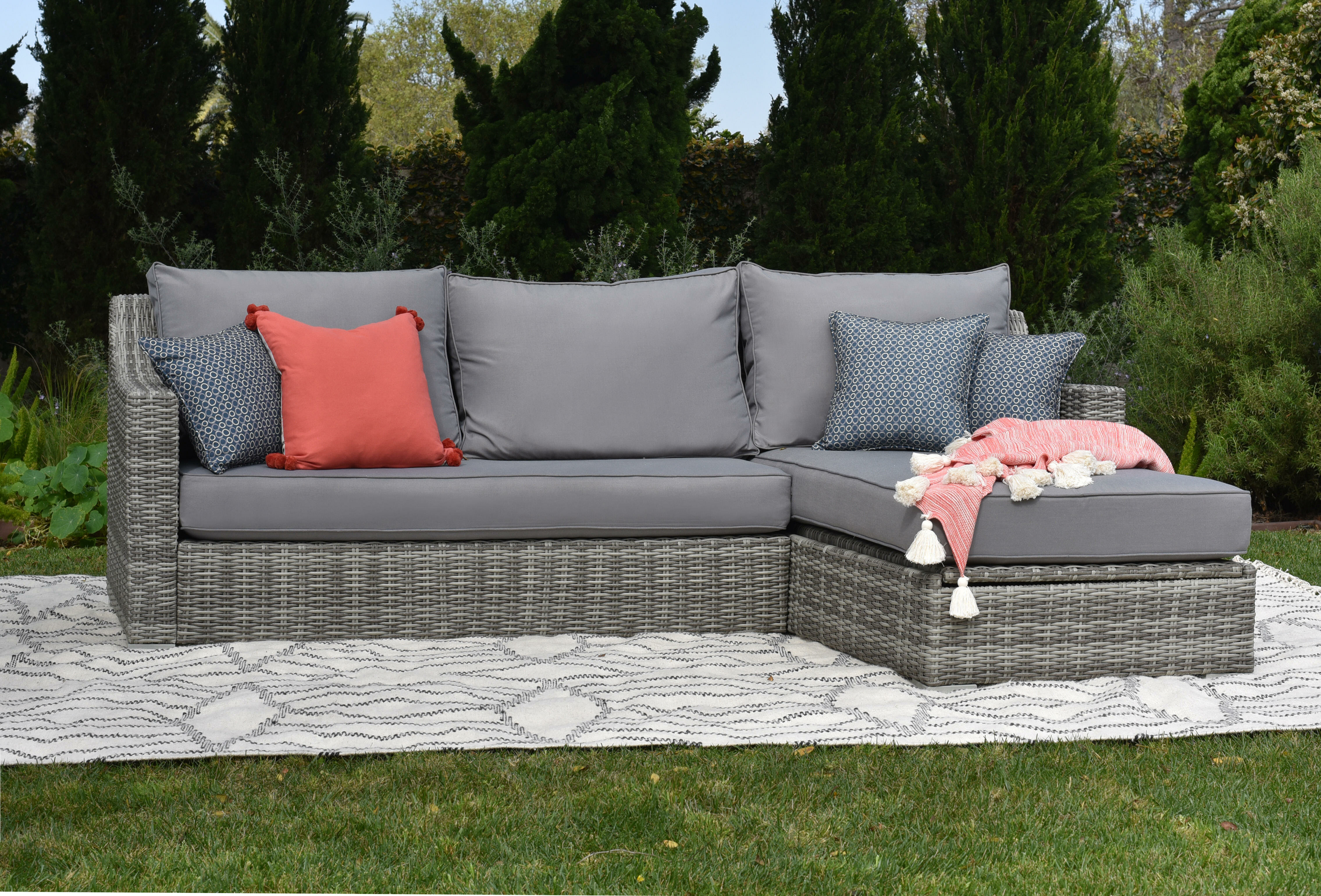 Vallauris Storage Patio Sectional With Cushions