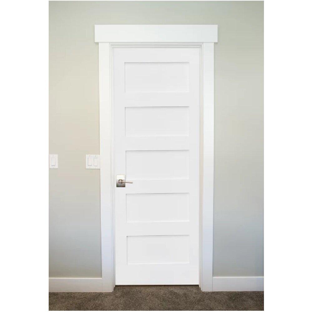 StileDoors Primed Shaker 5 Panel Solid Manufactured Wood Panelled MDF  Prehung Interior Door | Wayfair