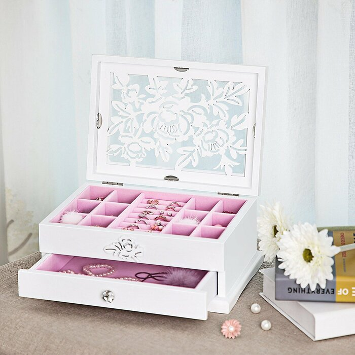Songmics Girls Jewellery Box Wooden Flower Carving Organizer Storage Case 2 Tier With Drawer Diy White And Pink Ujow201