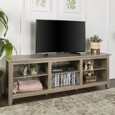 Beachcrest Home Sunbury TV Stand for TVs up to 70 with optional Fireplace Color: Driftwood, Fireplace Included: No