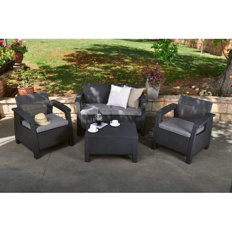 Berard 4 Piece Rattan Sofa Set With Cushions