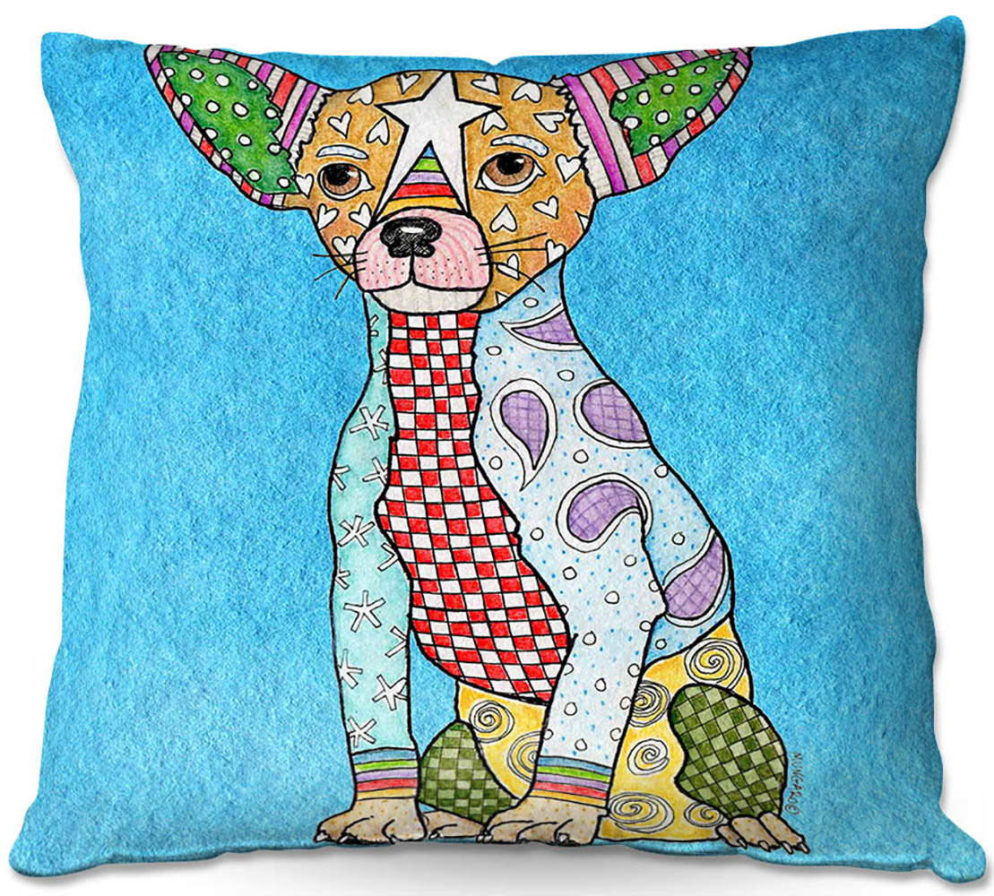 Ebern Designs Resnick Couch Chihuahua Dog Throw Pillow