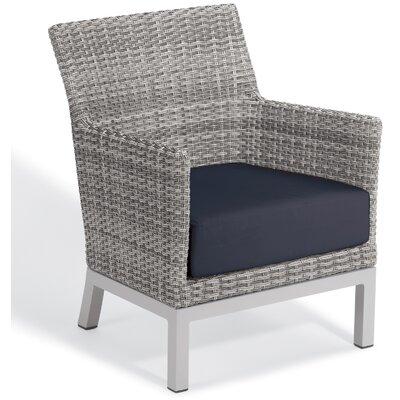 Brayden Studio Saleem Club Patio Chair with Cushions Cushion Color: Midnight Blue