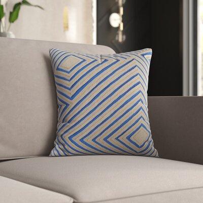 Mercury Row Keese Cotton Pillow Cover Size: 18 H x 18 W x 1 D, Color: Blue/Brown