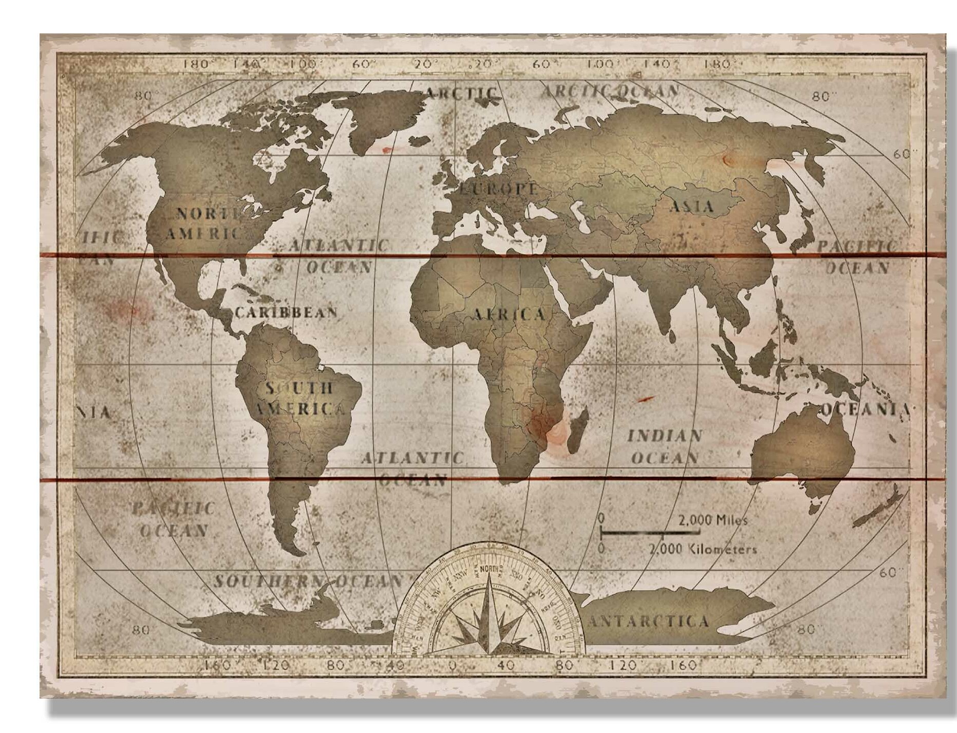 \'Old World Map\' Graphic Art on Wood