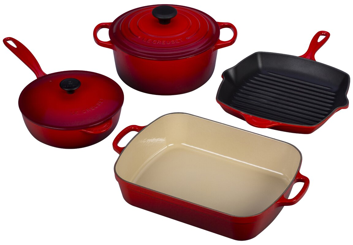 Le Creuset Cast Iron Signature 6 Piece Cookware Set & Reviews ...