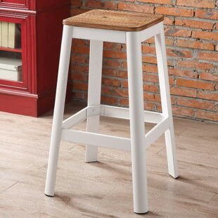 Smitherman Industrial Metal Frame and Wooden Bar Stool