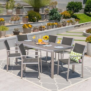 Aluminum patio furniture Sling Patio Durbin Aluminum Piece Dining Set Allmodern Modern Contemporary Cast Aluminum Patio Furniture Allmodern