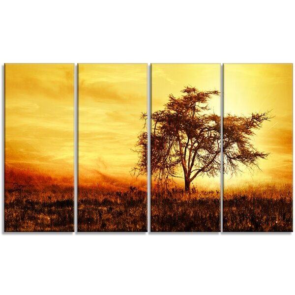 DesignArt \'African Tree Silhouette\' 4 Piece Wall Art on Wrapped ...