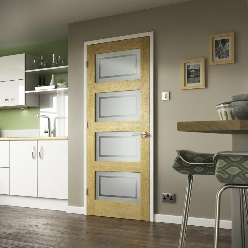 Shaker Solid Oak Glazed Slab Internal Door & Premdor Shaker Solid Oak Glazed Slab Internal Door u0026 Reviews ...