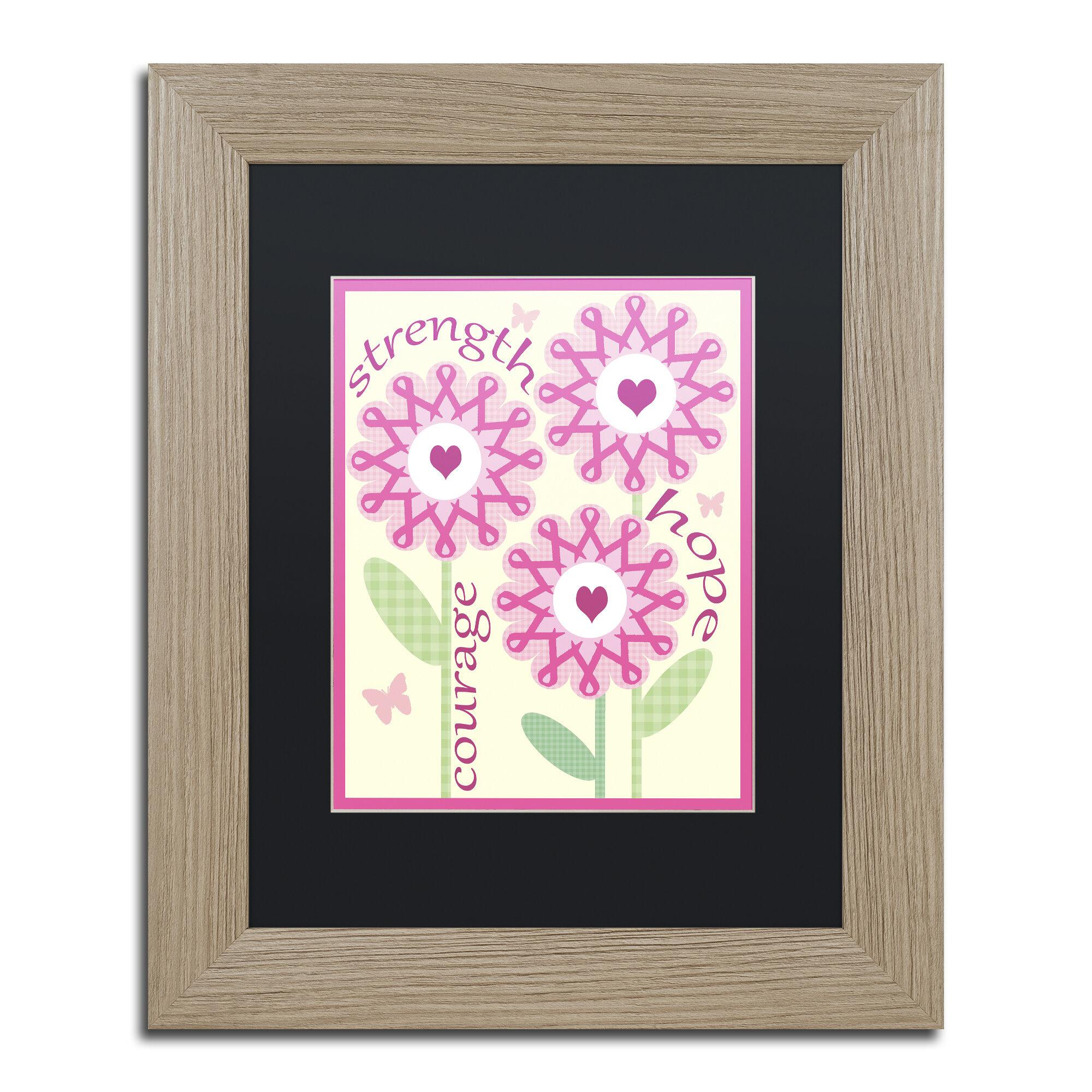 Trademark Art Pink Ribbon Flowers By Jennifer Nilsson Framed