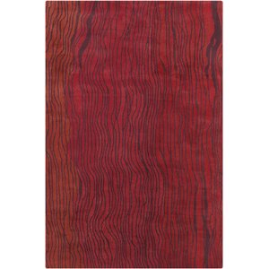 Saxon Hand Tufted Wool Red Area Rug