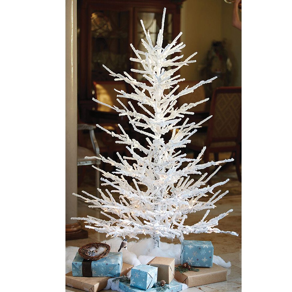 The Holiday Aisle Pre Lit Flocked Twig 7' White Artificial Christmas Tree with 350 Clear/White Lights with Stand   Wayfair