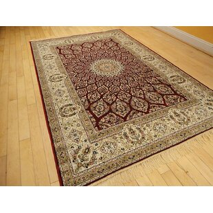 Shanelle Living Room Hand Knotted Silk Red Beige Area Rug