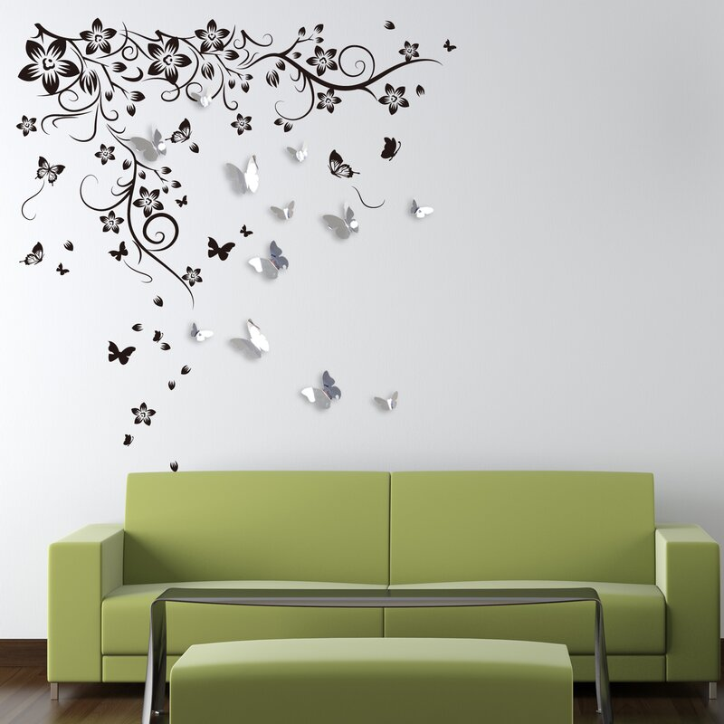 High Quality New Huge Butterfly Vine And 3D Mirror Butterflies Wall Decal