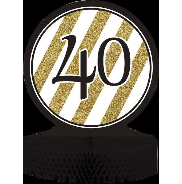 Creative Converting Black And Gold 40th Birthday Centerpiece Wayfair