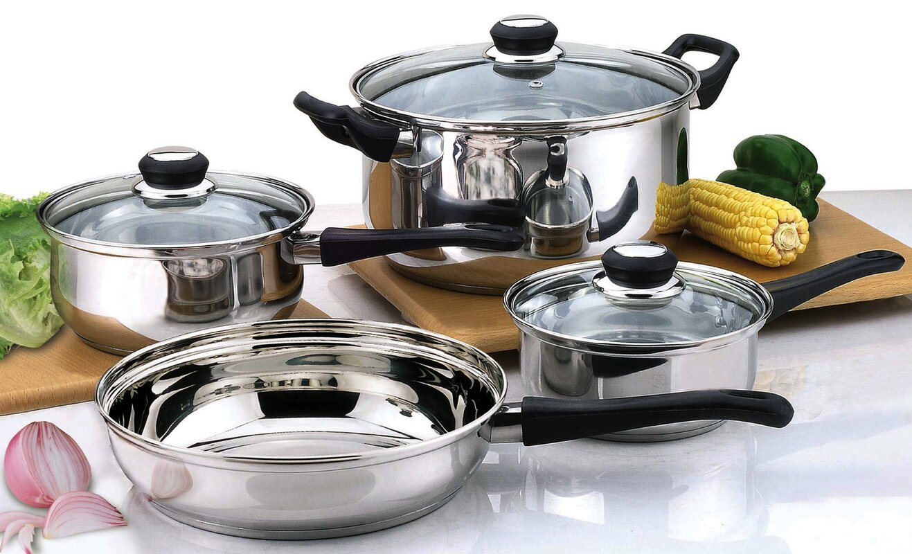 Culinary Edge 7 Piece Stainless Steel Cookware Set & Reviews | Wayfair