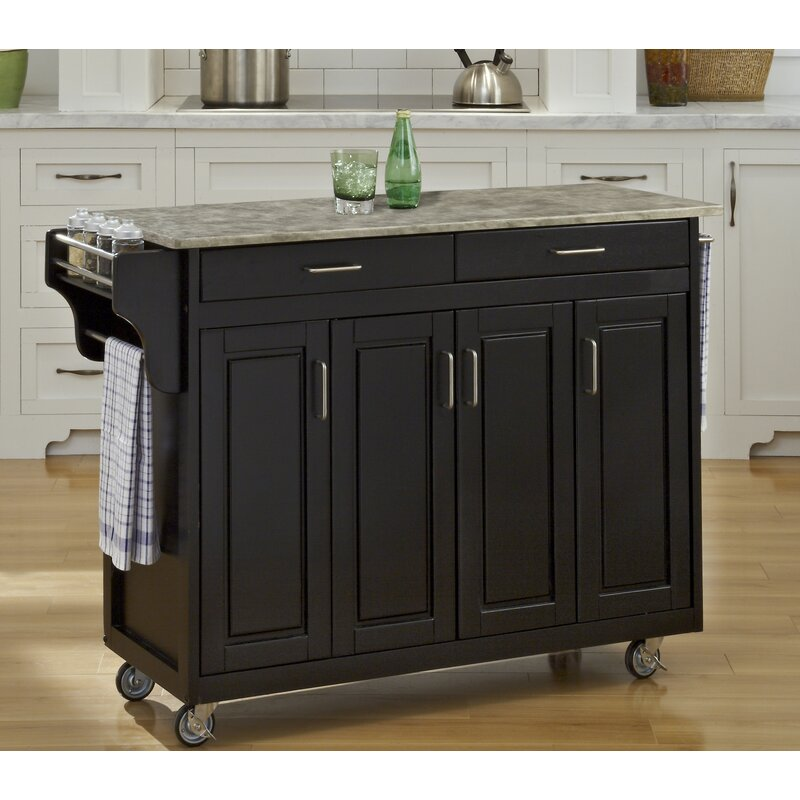 Home Styles Create A Cart Kitchen Island With Concrete Top Reviews Wayfair