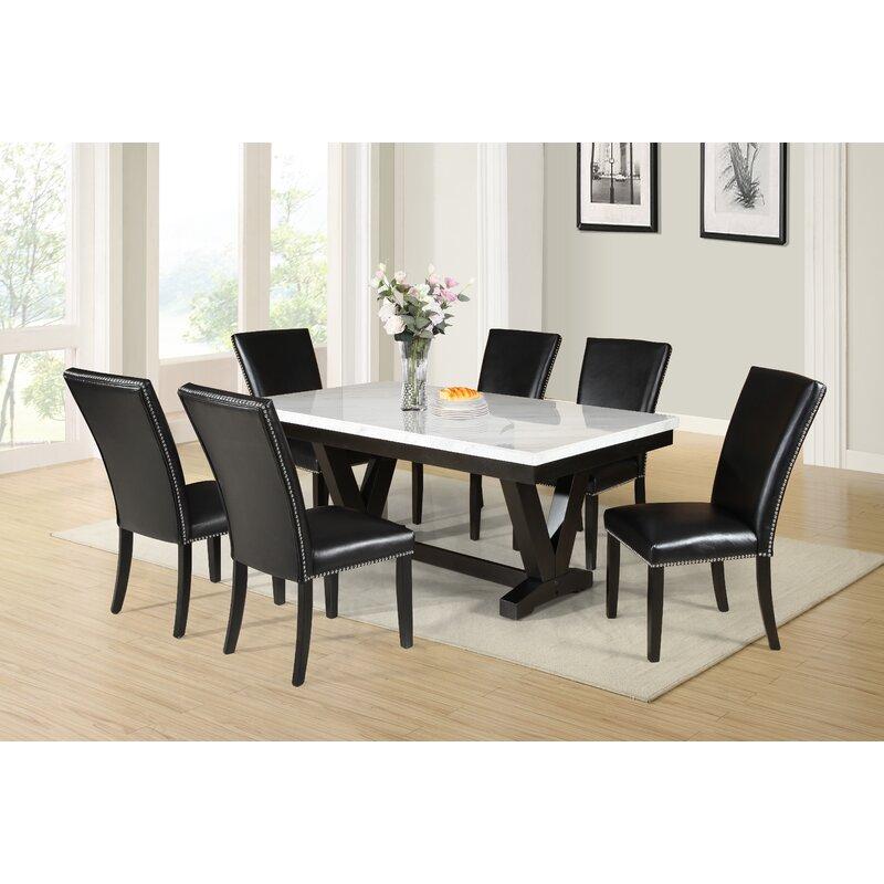 Red Barrel Studio Cedric Marble Top Dining Table Wayfair