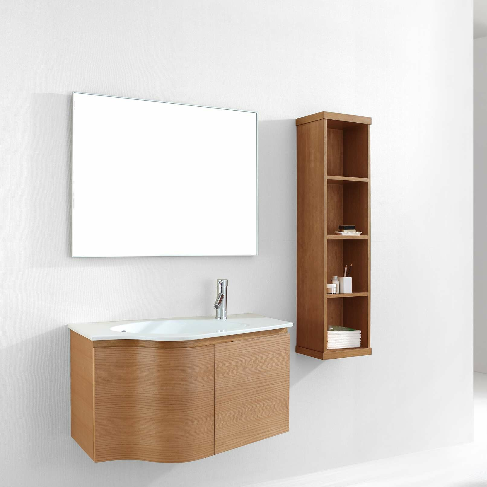 Roselle 35 Single Floating Bathroom Vanity Set With Ceramic Top And Mirror Reviews Allmodern