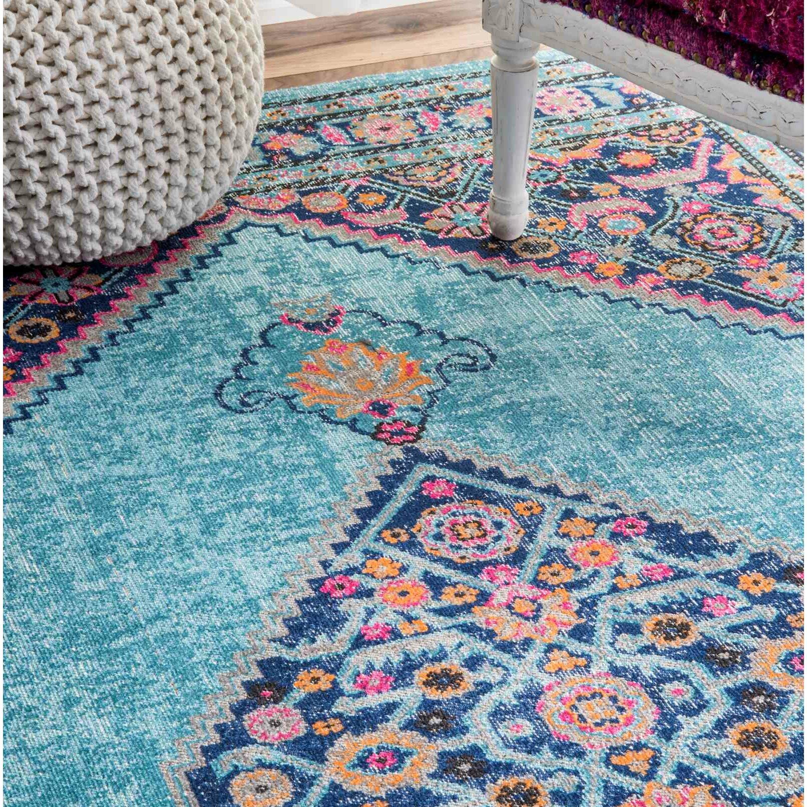bungalow rose babita blue pink area rug reviews wayfair. Black Bedroom Furniture Sets. Home Design Ideas