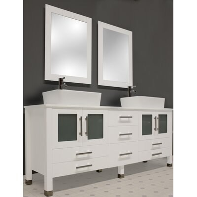 """Bathroom Vanity Hutch cambridge plumbing white emerald 65"""" double bathroom vanity set"""