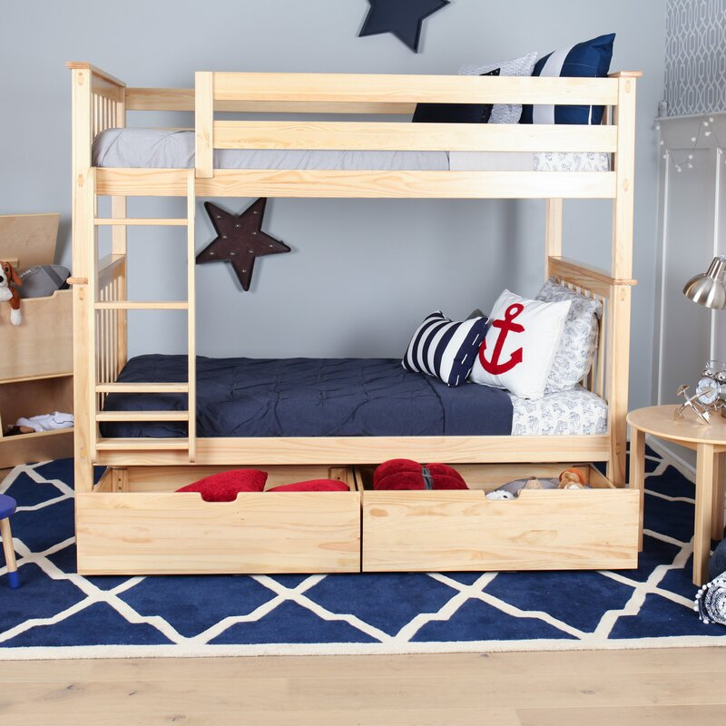 Attirant Twin Over Twin Bunk Bed With Under Bed Storage Drawer