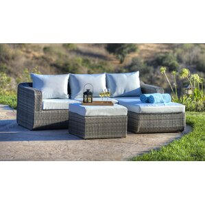 Luise 3 Piece Outdoor Wicker Sectional Seating Group With Cushions