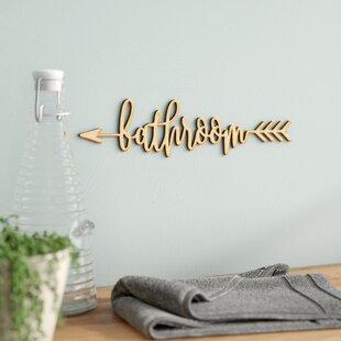 Bathroom Arrow Wood Sign Home Gallery Wall Decor