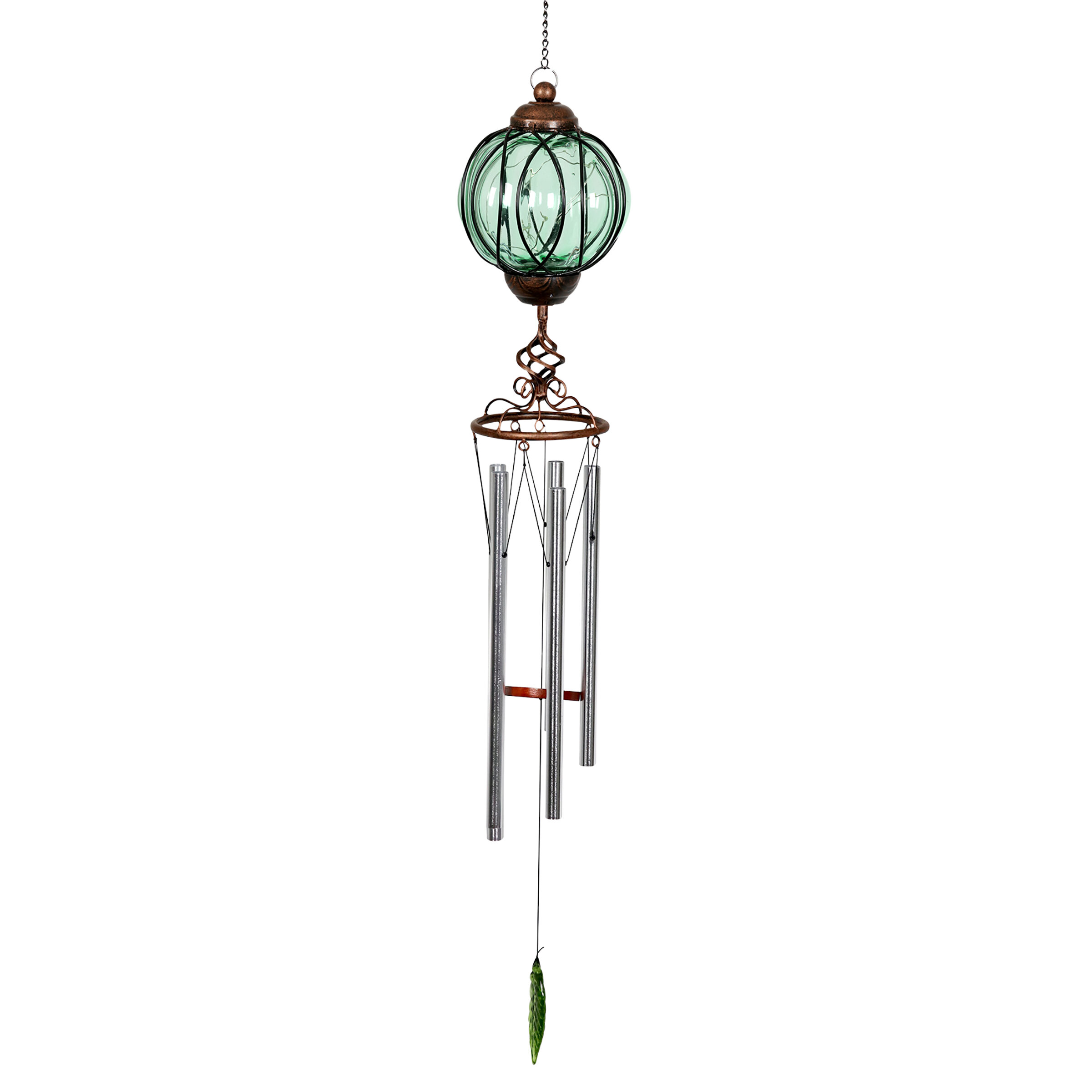 red barrel studio jamari solar metal wire and glass wind chime