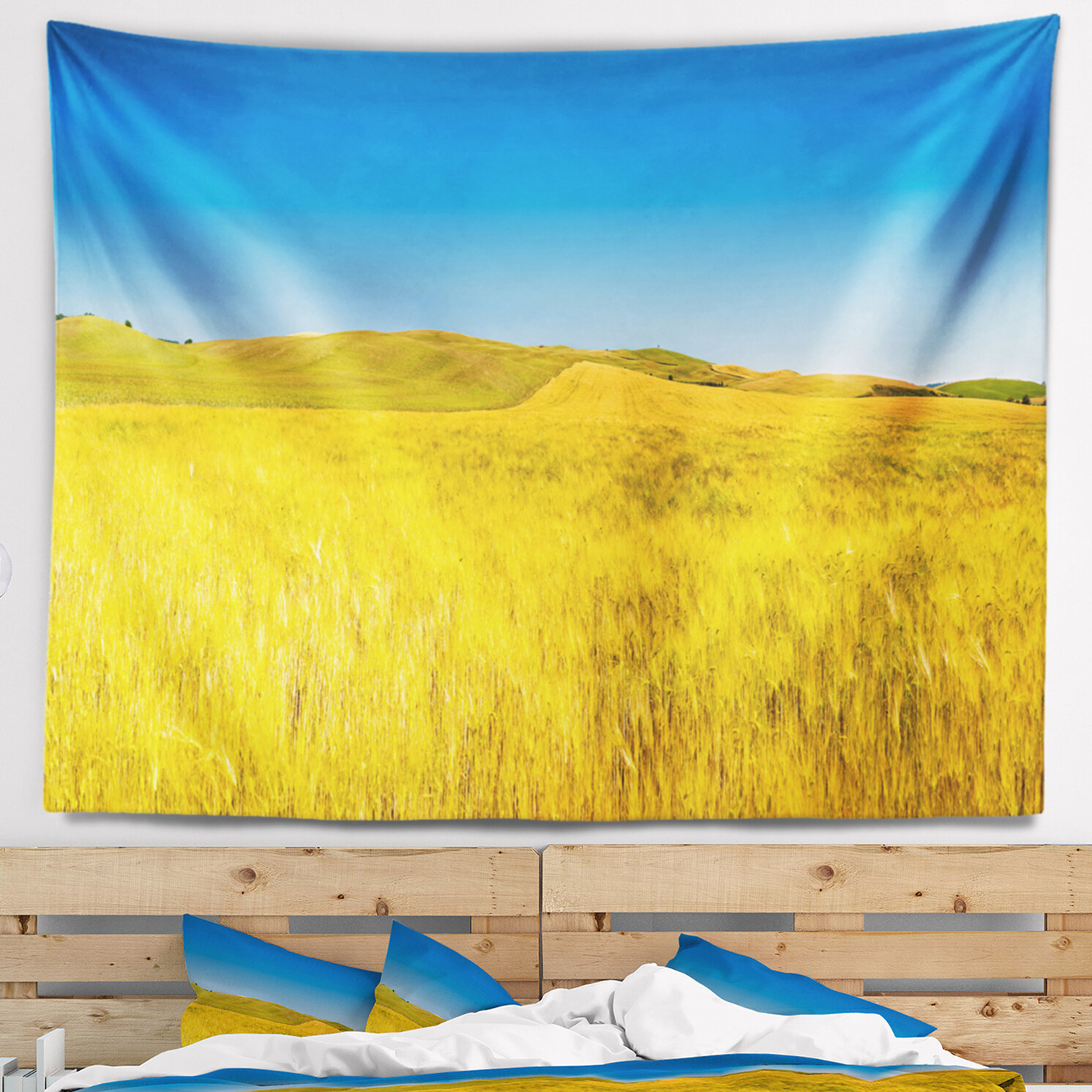 East Urban Home Landscape Tuscany Whet Field on Sunny Day Tapestry ...