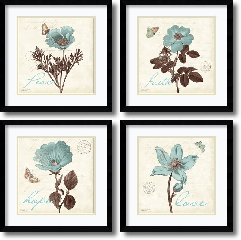 Amanti Art Touch Of Blue Black Frame By Katie Pertiet 4 Piece