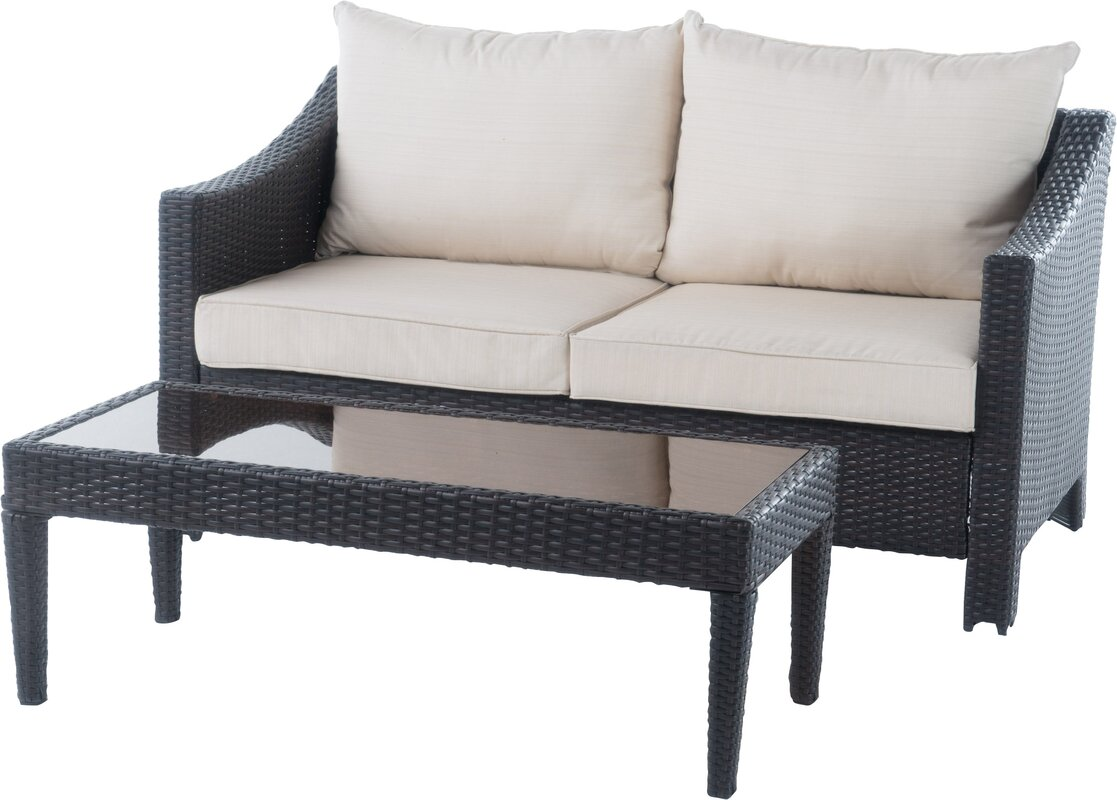 Dragoon 2 Piece Rattan Sofa Set With Cushions