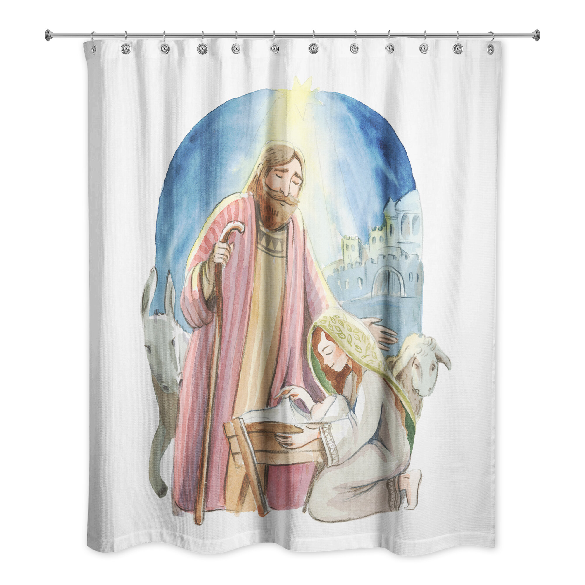 The Holiday Aisle Deann Nativity Shower Curtain
