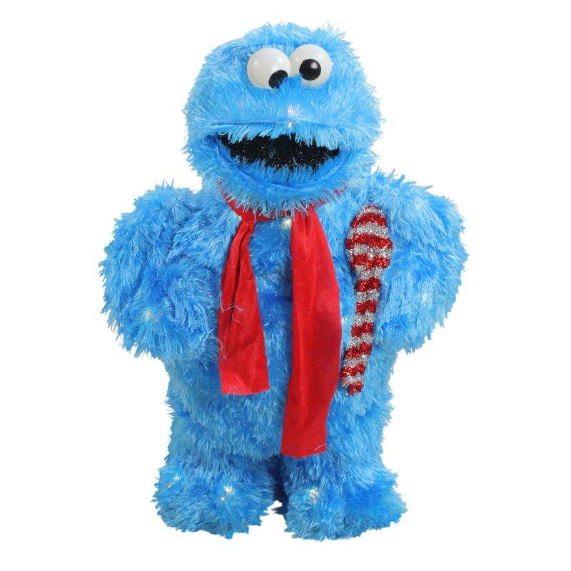 Decorative Soft Faux Fur Sesame Street Cookie Monster Yard Art Lighted  Display